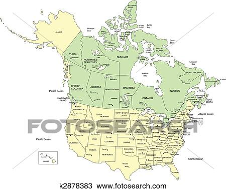 Usa 50 Staaten Und Kanada Namen Clipart K2878383 Fotosearch