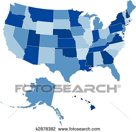 USA 50 States Shades of Blue Clipart   k2878382   Fotosearch