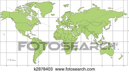Clipart of world mercator map with countries and longitude latitude world mercator map projection europe centered editable individual countries with borders longitude and latitude grid lines vector illustration gumiabroncs Gallery