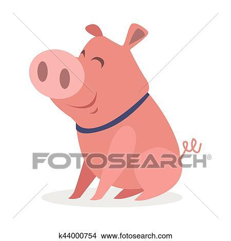 かわいい 面白い 子豚 平ら スタイル ベクトル アイコン クリップ