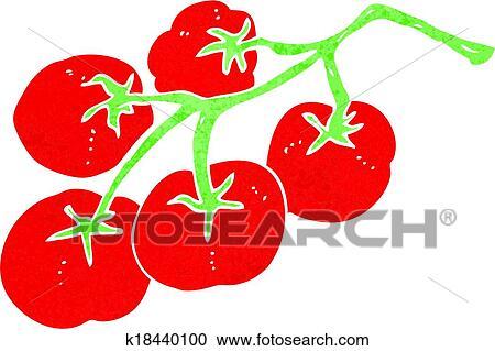つるの上のトマト イラスト クリップアート切り張りイラスト絵画