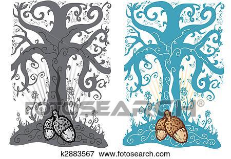 Clip Art Bellota Y árbol De La Vida Tatuaje Estilo Vector