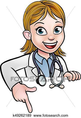 Clipart Docteur Femme Dessin Anime Caractere Pointage K49262189