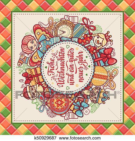 Frohe Weihnachten Aus Deutschland.Frohe Weihnacht Xmas Congratulations In Germany Clip Art