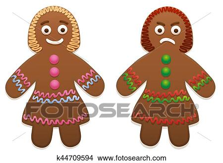 Clipart Of Gingerbread Man Woman Happy Angry K44709594