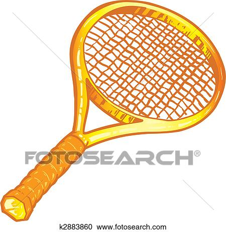 Clipart Of Gold Tennis Racket Illustration K2883860 Search Clip