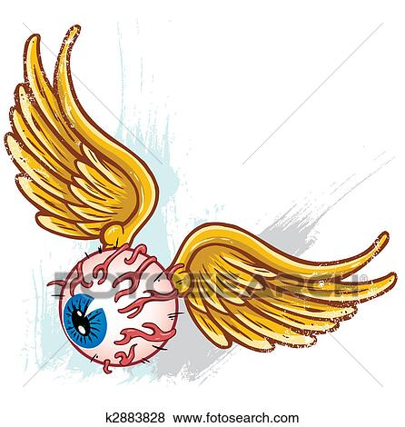 Hand Drawn Punk Style Flying Eyeball With Wings Vector Illustration All Parts Are Seperate And Fully Editable Clip Art K2883828 Fotosearch