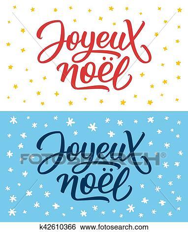 Auguri Di Buon Natale Francese.Joyeux Noel Lettering Buon Natale Su Francese Clip Art