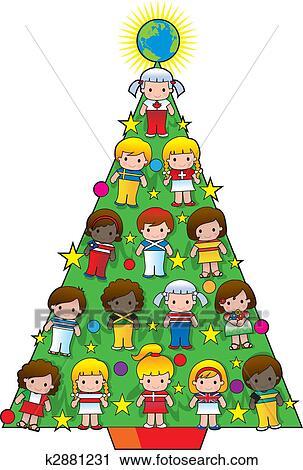 Clipart Land Kindern Weihnachtsbaum K2881231 Suche Clip Art