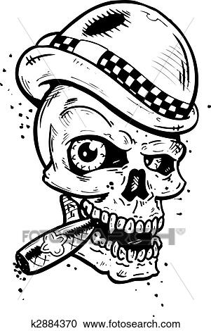 punk tattoo style skull with wings smoking a cigar clipart