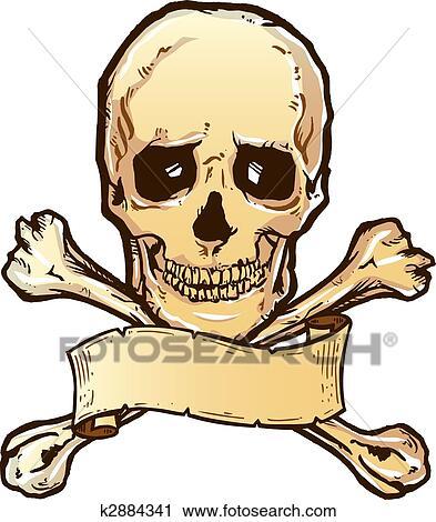 Clipart Of Skull Crossbones And Banner Illustration K2884341