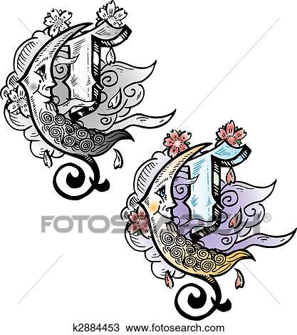 Clipart Tatouage Style Lettre C A Pertinent Symboles