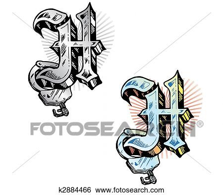 Clip Art Of Tattoo Style Letter H With Relevant Symbols Incorporated