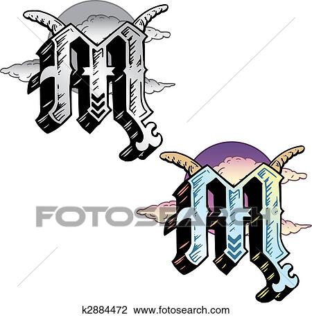 Clipart Of Tattoo Style Letter M With Relevant Symbols Incorporated