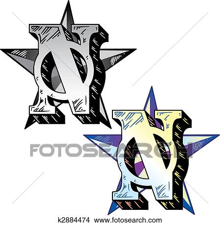 Clipart Of Tattoo Style Letter N With Relevant Symbols Incorporated