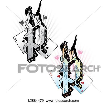 Clip Art Of Tattoo Style Letter P With Relevant Symbols Incorporated