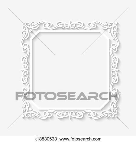 Clipart Vektor Altmodisch Barock Weiss Rahmen K18830533 Suche