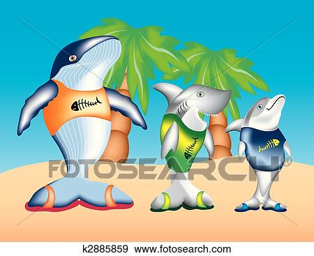 Clip Art Of Whale Shark And Dolphin K2885859 Search Clipart