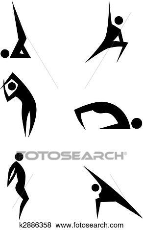 Yoga stick figure icon set isolated on a white background