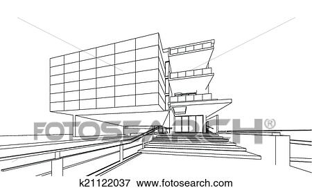 clip art of 3d render of building wireframe k21122037 search