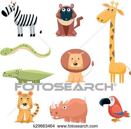 Africano Animali Divertimento Cartone Animato Arte Clip