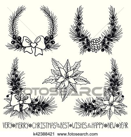 Christmas Wreath Silhouette Vector.Christmas Decor Fir Tree Branches Flowers Silhouette Clipart