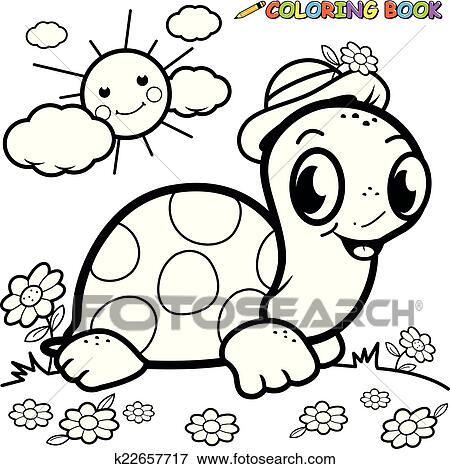 Coloring book turtle in grass Clip Art