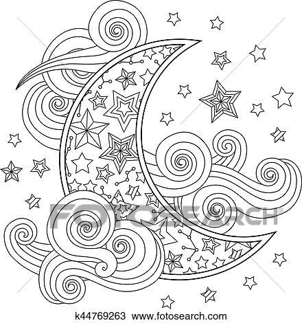 Clipart - contorno, imagen, de, luna, creciente, nubes, estrellas ...