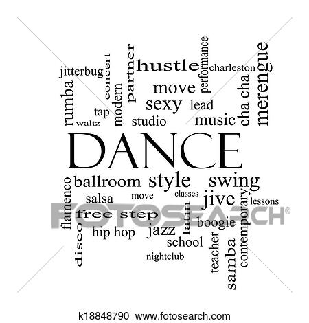 stock photography of dance word cloud concept in black and white