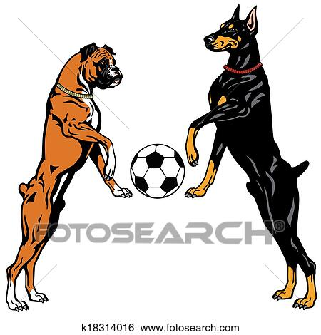 clip art of doberman and boxer k18314016 search clipart rh fotosearch com  boxer dog clipart black and white