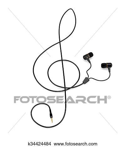 El Música Concepto Auriculares Con Un Cable En El Forma De