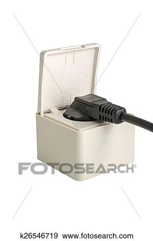 Electrical Plug In The Electric Socket On White Background