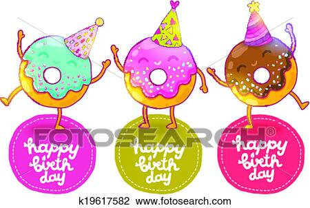 Clipart Anniversaire clipart - joyeux anniversaire, carte, fond, à, mignon, donut