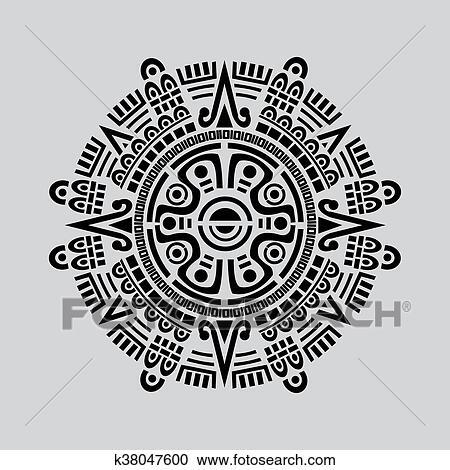 Clipart Of Mayan Calendar Vector K38047600 Search Clip Art