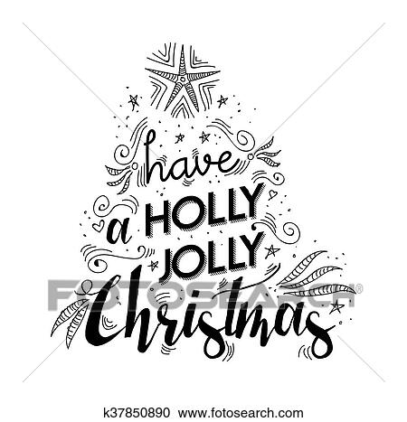 Christmas Lettering.Merry Christmas Lettering Quote With Xmas Elements Clipart