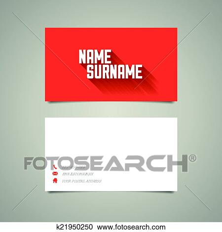 Clipart of modern simple business card template with long shadow clipart modern simple business card template with long shadow effect fotosearch search clip cheaphphosting Image collections