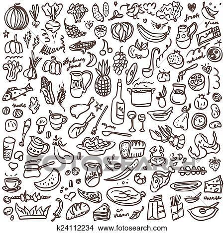 Clipart Of Natural Food Doodles Set K24112234 Search Clip Art