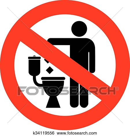 Clip Art Of No Littering In Toilet Sign K34119556 Search Clipart
