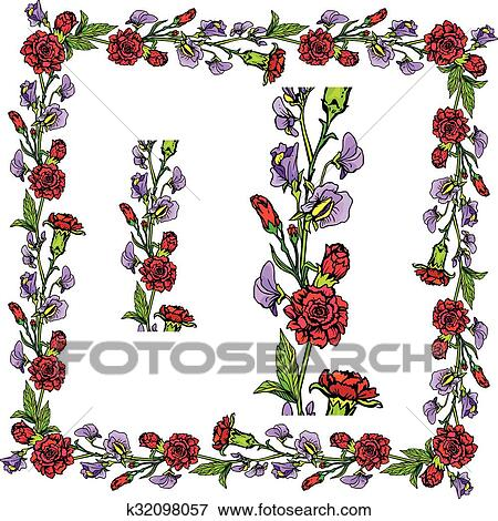 Set Of Ornaments Decorative Hand Drawn Floral Border And Frame With Clove And Sweet Pea Flowers Isolated On White Background Clip Art K32098057 Fotosearch