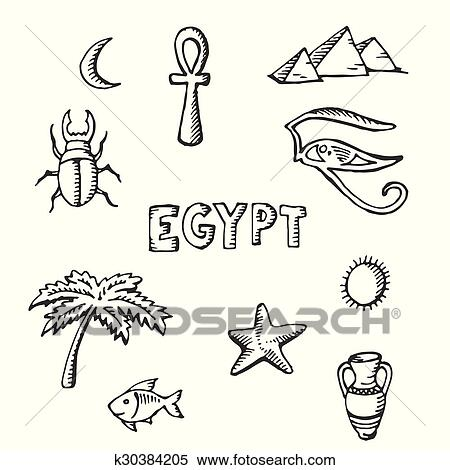 Clipart Of Sketch Collection Of Egyptian Symbols K30384205 Search