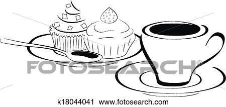Clipart - tasse kaffee, und, kuchen k18044041 - Suche Clip ...