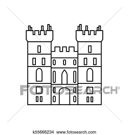 Windsor Castle Icon Outline Vector For Web Design Isolated On White Background