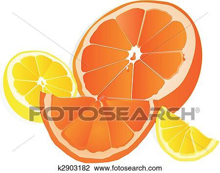 オレンジ そして レモン イラスト クリップアート切り張り