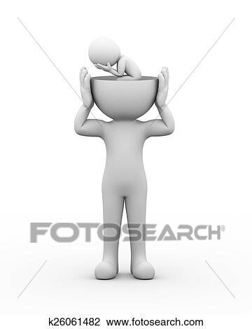 3d Abrir Cabeca Deprimido Triste Pessoa Desenho K26061482
