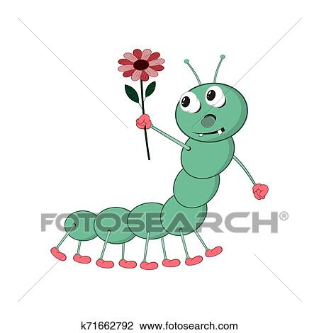 A Funny Cartoon Green Caterpillar Holds A Red Flower In His Hand