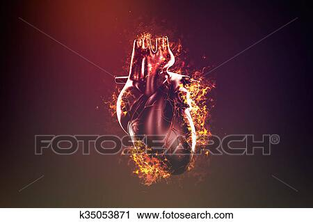 Abstract Human Heart In Flame And Smoke Clip Art K35053871