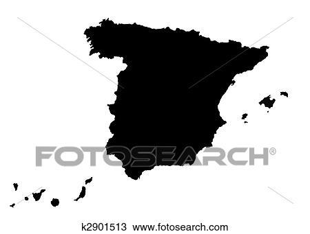 Carte Espagne Noir.Carte De Espagne Dessin