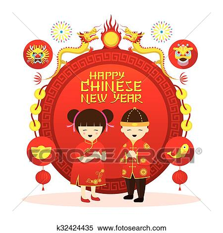 clipart chinese new year label boy and girl fotosearch search clip art