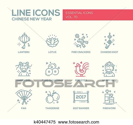 clipart chinese new year line design icons set fotosearch search clip art