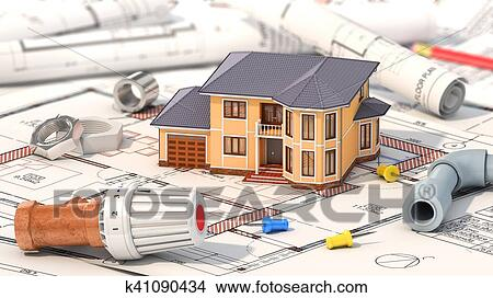 Construction concept  Project of heating for house  House with parts of  heating on the blueprints  3d illustration Stock Illustration